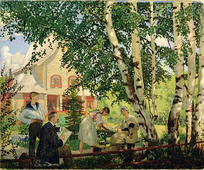 At Home, 1914-18 Oil On Canvas Poster by Boris Mikhailovich Kustodiev