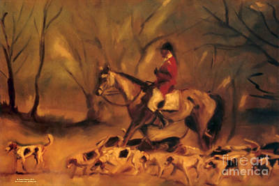 At The Fox Hunt Poster by Karen Francis