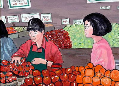 Poster featuring the painting At The Market by Joyce Gebauer