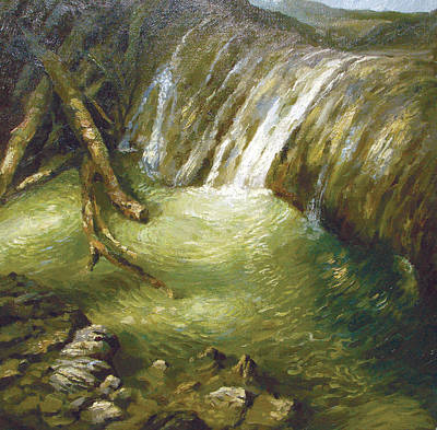 Poster featuring the painting At The Waterfall by Dmitry Spiros