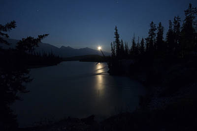 Athabasca River Moonrise Poster by Cale Best