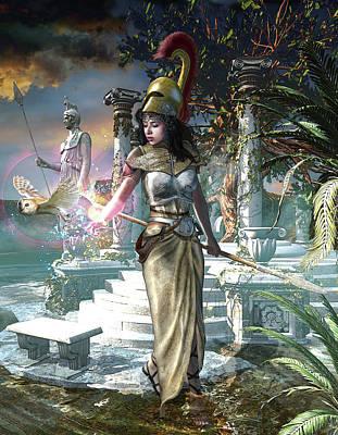 Athena The Greek Virgin Goddess Poster by Kurt Miller