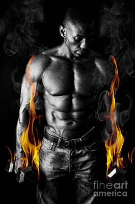 Athletic Muscular Young Man With Weights On Fire For Motivation  Poster