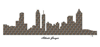 Atlanta Georgia 3d Stone Wall Skyline Poster