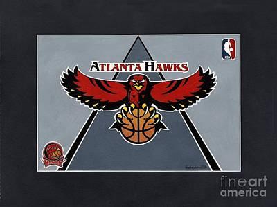 Atlanta Hawks T-shirt Poster by Herb Strobino