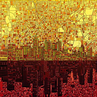 Atlanta Skyline Abstract 3 Poster