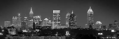 Atlanta Skyline At Night Downtown Midtown Black And White Bw Panorama Poster by Jon Holiday