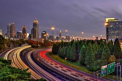 Atlanta Sundown Night Lights Poster by Reid Callaway