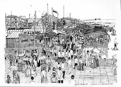 Poster featuring the drawing Atlantic City Boardwalk 1890 by Ira Shander