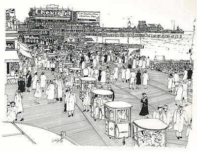 Poster featuring the drawing Atlantic City Boardwalk 1940 by Ira Shander
