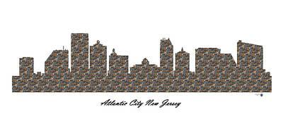 Atlantic City New Jersey 3d Stone Wall Skyline Poster