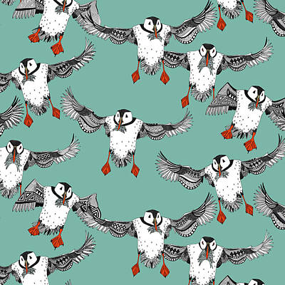 Atlantic Puffins Mint Poster by Sharon Turner