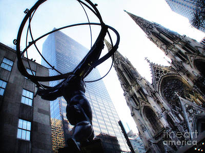 Atlas Statue And St.patrick's Cathedral In Color Poster by Nishanth Gopinathan