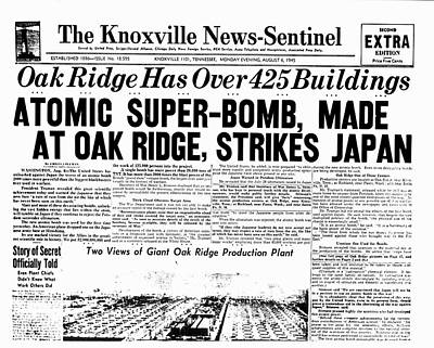 Atomic Bomb Newspaper Front Page Poster by Us Department Of Energy