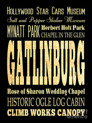 Attraction And Famous Places Of Gatlinburg Tennessee Poster