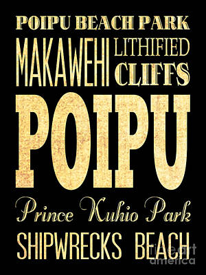 Attraction And Famous Places Of Poipu Hawaii Poster by Joy House Studio