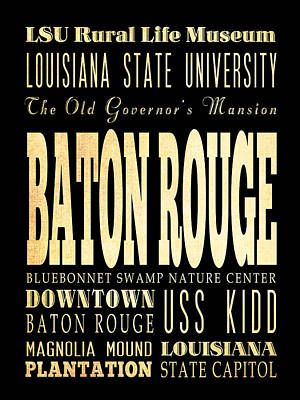 Attractions And Famous Places Of Baton Rouge Louisiana Poster by Joy House Studio