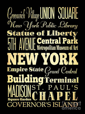 Attractions And Famous Places Of New York New York Poster