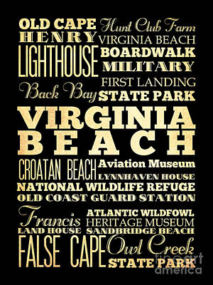 Attractions And Famous Places Of  Virginia Beach Virginia Poster by Joy House Studio