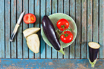 Aubergines And Tomatoes Poster by Tom Gowanlock