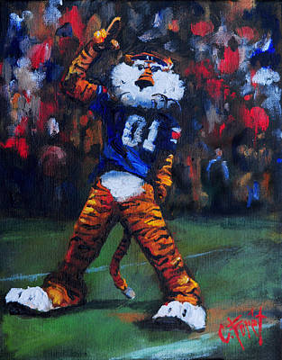 Aubie Doing His Thing Poster by Carole Foret