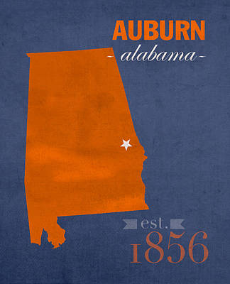 Auburn University Tigers Auburn Alabama College Town State Map Poster Series No 016 Poster by Design Turnpike