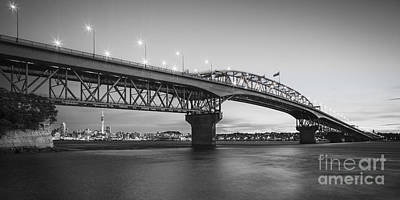 Auckland Harbour Bridge Evening Poster by Colin and Linda McKie
