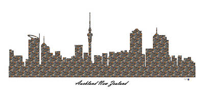 Auckland New Zealand 3d Stone Wall Skyline Poster