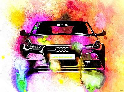 Audi A6 Avant Watercolor Poster by Daniel Janda