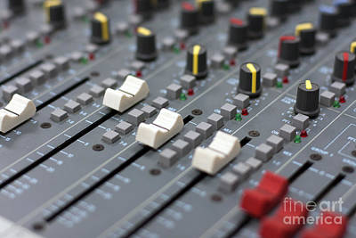 Poster featuring the photograph Audio Mixing Board Console by Gunter Nezhoda