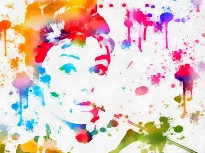 Audrey Hepburn Paint Splatter Poster by Dan Sproul