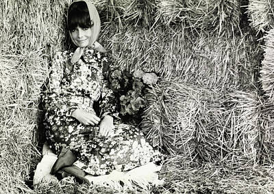 Audrey Hepburn Sitting In Hay Wearing Givenchy Poster