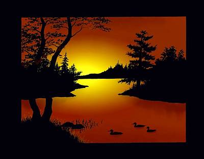 August Sunset Silhouetes Poster