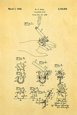 Aull Cigarette Ring Patent Art 1938 Poster by Ian Monk