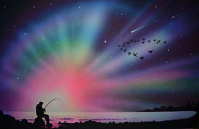 Aurora Borealis Gone Fishing Poster
