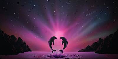 Aurora Borealis With Two Dolphins Poster