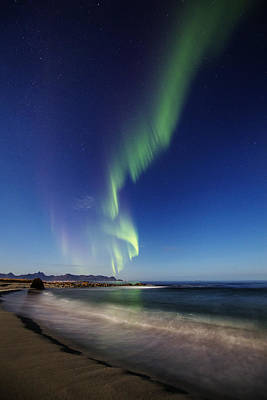 Aurora By The Beach Poster by Frank Olsen
