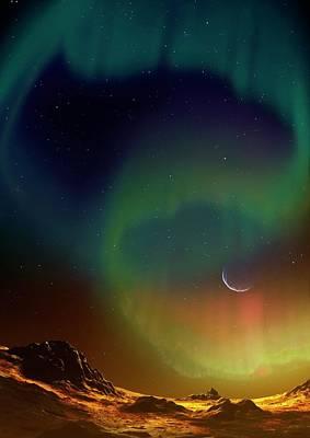 Aurora On Planet Kepler 438b Poster