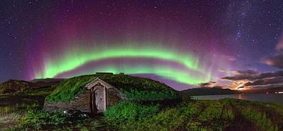 Auroral Over Viking House Poster