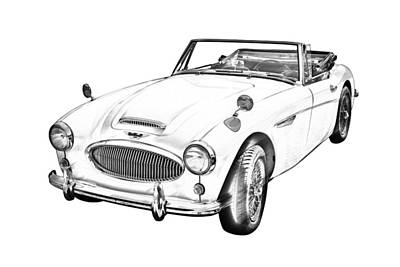 Austin Healey 300 Sports Car Drawing Poster by Keith Webber Jr