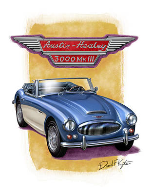 Austin Healey 3000 Blue-white Poster by David Kyte