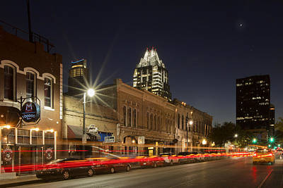 Austin Images - Sixth Street And The Austin Skyline 2 Poster by Rob Greebon