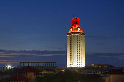 The University Of Texas Tower After A Longhorn Win In Austin Texas Poster