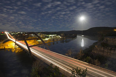Austin Images - Full Moon Setting Over The 360 Bridge Poster by Rob Greebon