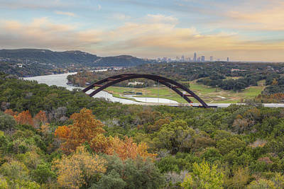 Austin Images - Pennybacker Bridge And The Austin Skyline Showin Poster