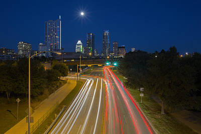 Texas Images - The Austin Skyline And City Traffic Poster by Rob Greebon