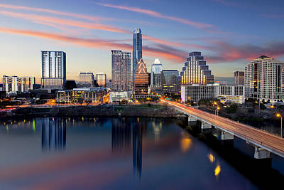 An Image Of The Austin Skyline And Lady Bird Lake From The Hyatt Hotel Poster by Rob Greebon