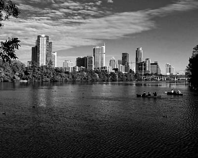 Austin Skyline Bw Poster by Judy Vincent