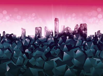 Austin Skyline Geometry 2 Poster