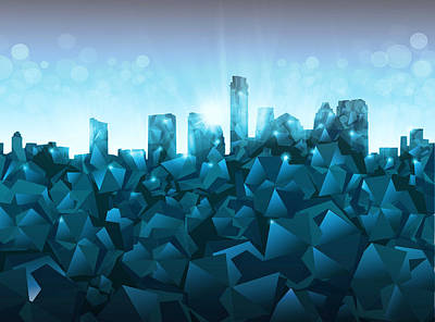 Austin Skyline Geometry 3 Poster